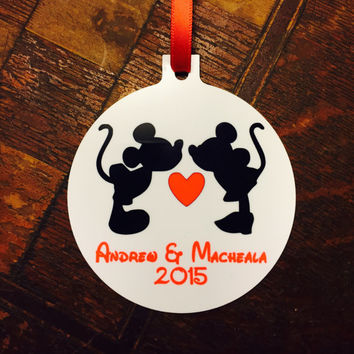 Personalized Mickey & Minnie Kissing Christmas Ornament