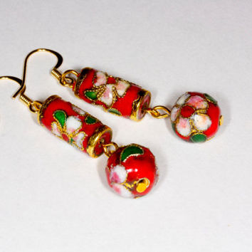 Long red dangle cloisonne earrings
