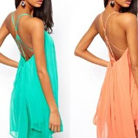 Trendy Hollow Out Buckle Chiffon Dress