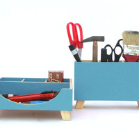 FREE SHIPPING - Desktop Organizer, Desk Organizer, Turquoise Desktop Set, Wooden Desk set, Office Accessories, Desk Organizer, Gift ideas