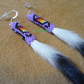 Peyote stitch beaded Ermine tail earrings