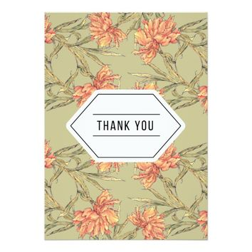 Peach Floral Thank You Card