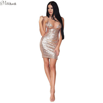 VITIANA Brand Womens Sleeveless Backless Sequins Dress V Neck Bodycon Slim Sexy Clubwear Party Mini Dresses Vestidos