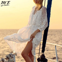 ME Women Spring Summer Hollow Beach Dress Lace Spliced Mesh See-through Backless Embroidery Loose Dress