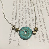 Minimalist Necklace, Faceted Brass and Arizona Turquoise Beads on Sterling-silver Plated Chain