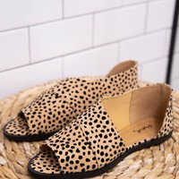 Sting Open Toe Flats, Leopard Tan
