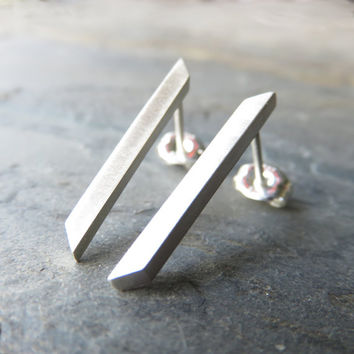 Sterling Silver Bar Earrings - Split Arrow, Split Chevron Matte Silver Earrings, Brushed Silver Modernist Earrings, Geometric Earrings