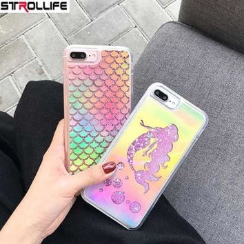 STROLLIFE Fashion Laser Mermaid Sequins Dynamic Liquid QuickSand Glitter Phone Cases For iPhone 6 6S 7Plus Shinning Back Cover