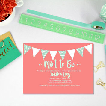 Printable Coral and Mint to Be Bridal Shower invitation