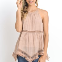 Halter Neck Top with Trim Detail - Dusty Rose