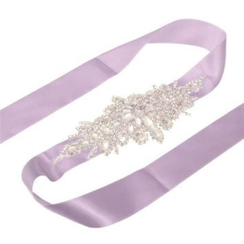 ICIKJG2 New Arrive Elegant Rhinestone Vintage Crystal Wedding Party Bride Bridesmaid Belt Dress Flower Sash Accessories 10 Colors
