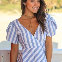 Blue and White Striped Peplum Top