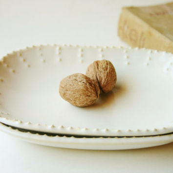 Stoneware Oval Square Plates - Creamy White French Country Dinnerware - Set of 2 - 7 Color Choices - Made to Order