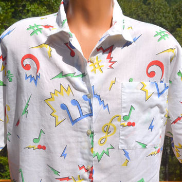 vintage 70s shirt white MUSIC notes rainbow pattern button down 80s short sleeve XL xxl 2xl