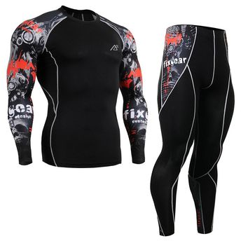 Life on track Shirts&Tights Set Skin-Tight Gym Training MMA Workout Fitness Men's Compression Clothing Set Running Suit