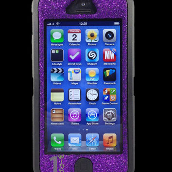 Custom Glitter Otterbox Defender Series Case for iPhone 5 Black/Purple