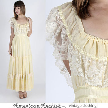 Gunne Sax Dress Jessica McClintock Dress Boho Wedding Dress Prairie Dress Vintage 70s Boho Wedding Prairie Yellow Floral Lace Party Maxi M