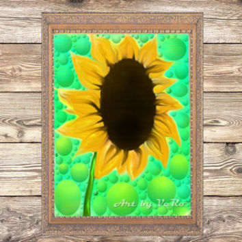 Sunflower 100% unique digital art. Original wall decor, art print, home decor, flower painting, modern digital art decor, fine arts print
