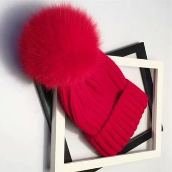 Fashion Knitted Cotton Beanies cap Mink and Fox Fur Ball Cap Winter Hat for Girl  Thick Female Cap M-001