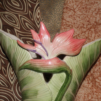 Exquisite and Rare Fitz and Floyd  Calla Lilly Design Vase Made in Japan 1989