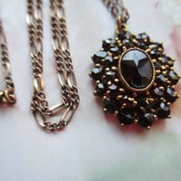 Antique Bohemian Garnet Necklace with 9CT Chain