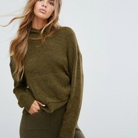 Micha Lounge Knitted Crop Hoodie at asos.com