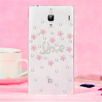 Luxury 3D Ballet Flower bling Crystal diamond Mobile phone Shell Back Cover Skin Hard Case For Xiaomi Hongmi Redmi 1S