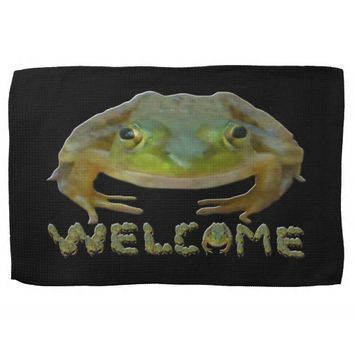 Welcome Frogs Hand Towel