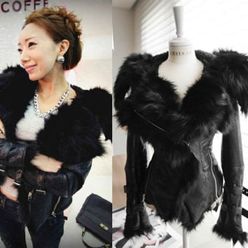 Hot Luxury Genuine Fox Fur + Soft PU Leather Patchwork Thick Studded Shoulder Pad Hoodies Women's Winter Motorcycle Jacket Coat