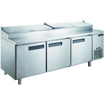 Commercial Kitchen Refrigerated Pizza Prep Table 90""