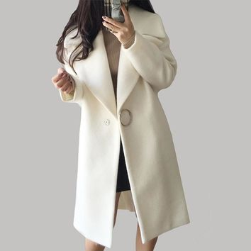 2017 Autumn Winter Fashion Women Wool Coat Loose Imitation Cashmere Outerwear Padded Overcoat Solid White Wool Blend YP0567