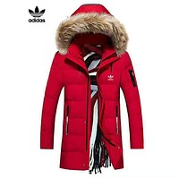 ADIDAS winter new long section plus velvet warm loose loose cotton clothing red