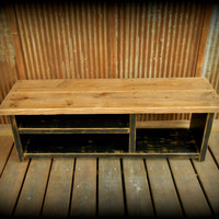 "48"" Shoe Rack Bench with Boot Cubby - Two Tone"
