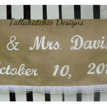 Large Burlap Wedding Banner* Burlap Wedding Quote*Tailgate Wedding Banners*Rustic Wedding Banner* Wedding Sign