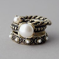 Antique Victorian Vintage inspired Pearl Stackable Rings Set of 3 by Kellinsilver.com - Fashion Jewelry Shop as ETSY