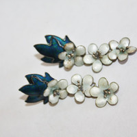 Vintage Earrings  Enamel Flower Guilloche Sterling 1940s Jewelry