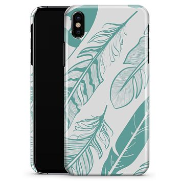 Teal Feather Pattern - iPhone X Clipit Case