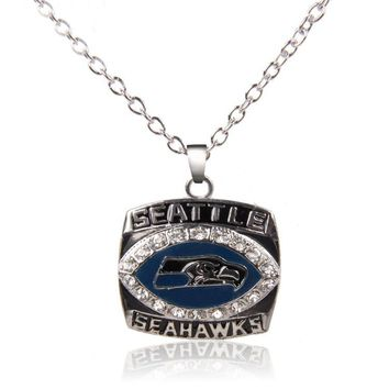 Crystal Seattle Seahawks Necklace 45cm Chains Necklace For Women Heart Necklace Jewelry