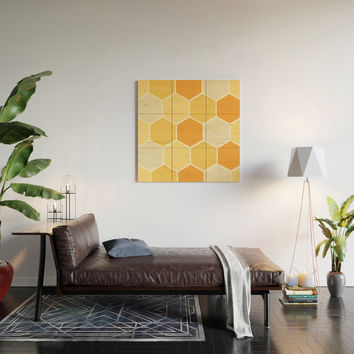 Yellow Honeycomb Wood Wall Art by spaceandlines