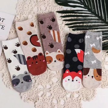 New Design Unisex women men kids lovely dogs Socks cute cartoon  style Fashion Cotton Printing Tube Socks floor meias Socks