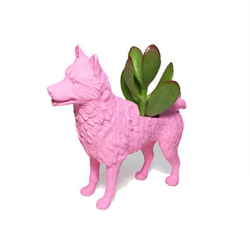 Up-cycled Baby Pink Akita Dog Animal Planter