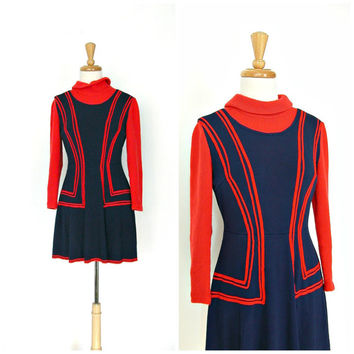 1960s Mod Dress / 60s dress / scooter dress / mini dress / womens nautical dress / go go dress / small medium
