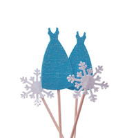24 Glittered Disney Frozen Fever Elsa Dress and Snowflakes Toothpicks, Party Picks, Food Picks, Cupcake Toppers - No816