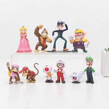 Super Mario party nes switch 10pcs/set  Bros  Luigi Wario Waluigi Donkey kong Toad Peach Mushroom Boo PVC Action Figures Model Toy 4-7cm AT_80_8