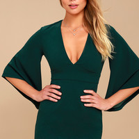 Glimpse of Glamour Forest Green Bell Sleeve Bodycon Dress