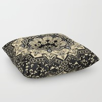 Indian Gold Mandala Floor Pillow by inspiredimages