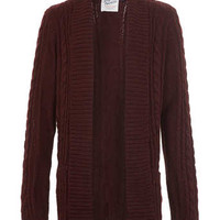 Burgundy Drape lighterweight Cardigan - Cardigans - Men's Cardigans & Sweaters - Clothing