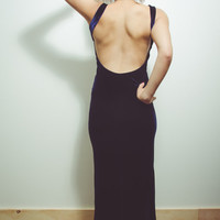 90s Navy Velvet Backless Bodycon Maxi Dress