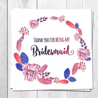 Bridesmaid Thank You Card, Thank You For Being My Bridesmaid, Wedding, Feathers, Boho, Bohemian Wedding, Flower Thank You Card, Wreath