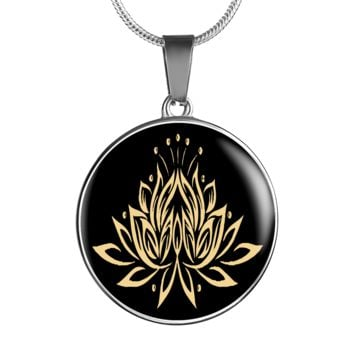 Gold On Black Lotus Flower Pendant Necklace